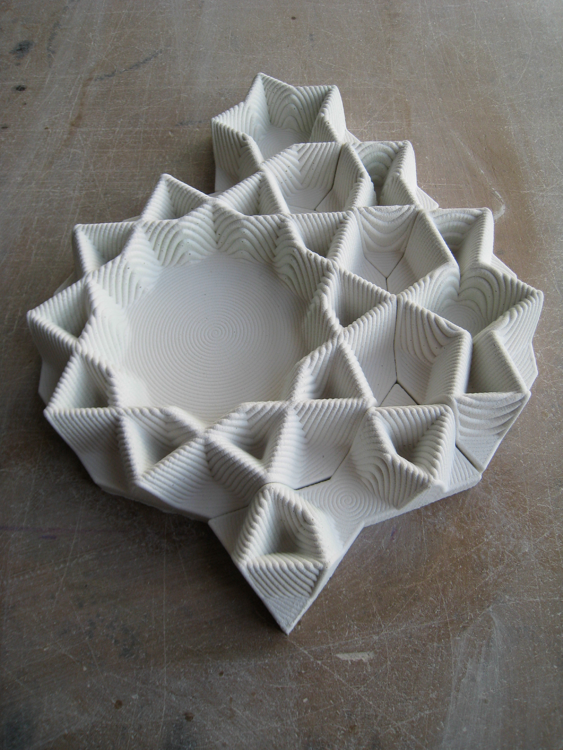 Data clay projects digital islam penrose tiling system five silicone rubber positives of penrose tiles for slip casting molds one for each penrose tile type which i used to create the two part slip casting dailygadgetfo Images